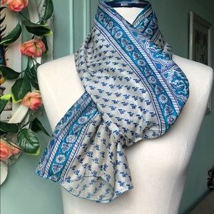 Blue & Cream vintage pure silk recycled scarf.